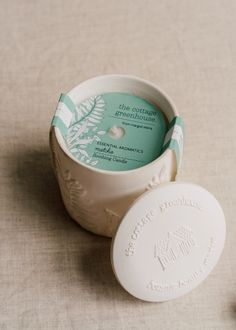 Immerse yourself in the uplifting aroma of The Cottage Greenhouse White Pine & Balsam Ceramic Candle. Our long-lasting aromatics are hand-poured in small batches & packaged in a keepsake ceramic container. Tin Candles, Scented Candles, Candels, Candle Wax, Stationary Gifts, Food Packaging Design, Packaging Ideas, Candle Packaging, Luxury Gifts