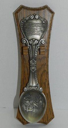 Vintage German Figural Display Spoon w/Wood Display Woman Singing Song Versus