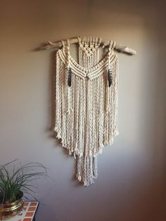 OOAK Large Macrame Wall Hanging Driftwood by MoonshadowMacrame
