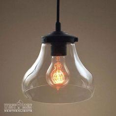 Bell 1 Light Clear Glass Pendant Light