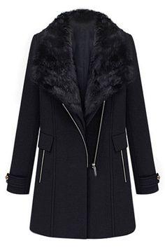 ROMWE   Two-piece Fake Fur Collar Black Woolen Coat, The Latest Street Fashion