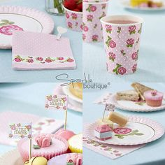 Shabby Chic Vintage Rose Design Paper Disposable Plates Pack 8 great ...