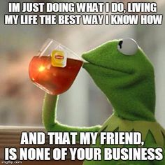 The best Kermit meme ever!!!! That my friend is NONE of your business!!