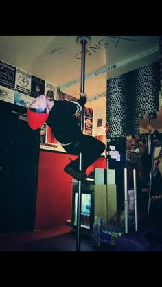 Josh found a pole in his dressing room.