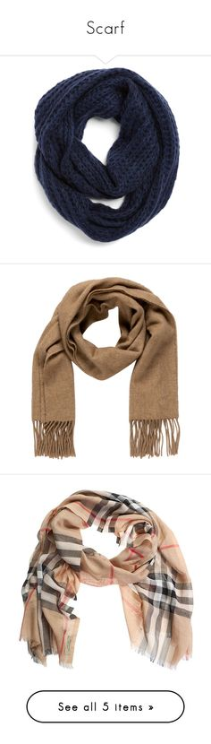 """Scarf"" by barbarapalvine22 ❤ liked on Polyvore featuring accessories, scarves, navy, knit infinity scarf, tube scarf, circle scarves, chunky circle scarf, loop scarves, brown and hermes scarves"