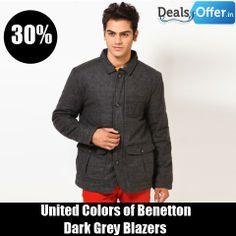 United Colors of Benetton Dark Grey Blazers @ 30% Off