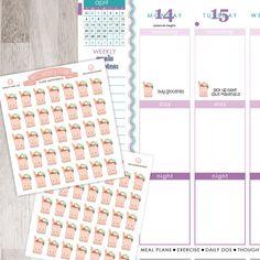 35 Grocery Bags Sticker Sheet   Erin Condren Planner / Plum Paper Planner / Filofax / Kikki K / Planner
