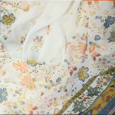 100*150cm 75d bilateral cloth butterfly print chiffon silk satin skirt cos cloth costume hanfu clothes fabric meters