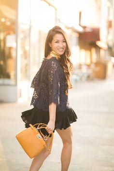 Summer Layers-7 Fendi Peekaboo Mini, Wendy's Lookbook, All Black Outfit, Lace Ruffle, Blue Lace, My Style, Classic Style, Camisole Outfit, Paula Mendoza