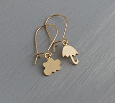 Rain Cloud and Umbrella Earrings .. gold by beadishdelight on Etsy