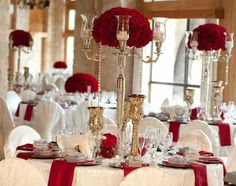 Modern Red And Silver Table Decorations With Christmas White Wedding