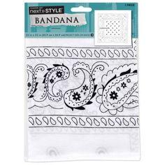 Single Bandana, White Paisley, Black
