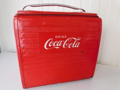Vintage 1955 Coca Cola Canada English Picnic Cooler St Thomas Metal Sign Ontario