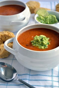 Chili-Bean Soup with Avocado-Lime Cream | coconutandberries.com
