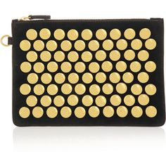 Jérôme Dreyfuss Popoche medium studded suede pouch ($315) ❤ liked on Polyvore featuring bags, handbags, clutches, black, cell phone purse, zip pouch, black zip pouch, suede pouch and studded purse