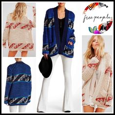 """❗1-HOUR SALE❗FREE PEOPLE CARDIGAN 💟NEW WITH TAGS💟 RETAIL PRICE: $168 SIZING-Tagged L = 12-14 FREE PEOPLE Long Cardigan Printed Cardi  * Open front  * 2 front pockets  * Long sleeves   * Boho patterned printed construction  * Approx 28"""" long tunic length  * Relaxed & subtly oversized slouchy fit    Material: Acrylic & 30% wool; Super soft & not scratchy  Color: Blue Denim Combo Item#FP96900 Baby Navy Midnight blue SEARCH# fair isle 🚫No Trades🚫 ✅ Offers Considered*✅ *Please use the blue…"""