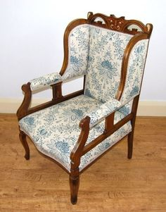 Furniture Upholstery, Antique Furniture, Clean Upholstery, Linwood Fabrics, Antique Armchairs, Antiques For Sale, Chair Fabric, Surface Design, Accent Chairs