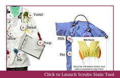 Stain removal guide for scrubs! Another reason I only wear dark colors...  #scrubs #nursing
