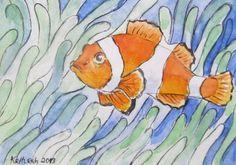 Items similar to Mini Clown Fish watercolor ACEO, Artist Trading Card on Etsy Watercolor Fish, Watercolor Animals, Watercolour, Colorful Animals, Going Fishing, Artist Trading Cards, Arts And Crafts, Atc, Drawings