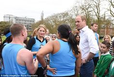 The Duke of Cambridge chatting to runners who are set to take part in the London marathon ...