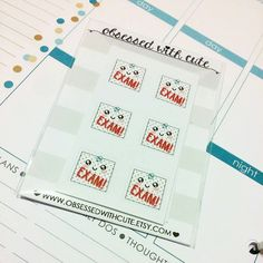 Cute EXAM stickers by ObsessedwithCute on Etsy