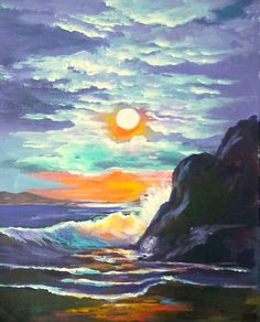 SUNSET BEACH Want to come paint with me/? copy and follow this link :http://gingercooklive.gallery/not-a-member/