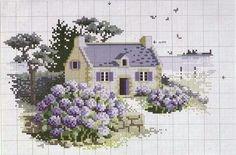 A casa e seu jardim de lavandas.