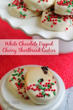 White Chocolate Dipped Cherry Shortbread Cookies- buttery, crispy cookies are studded with sweet & tart dried cherries and then dipped in white chocolate