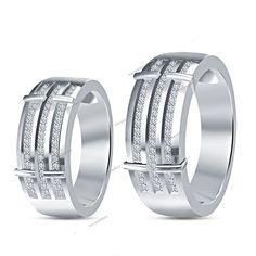 Interlock Setting 14k white Gold Finish Engagement Ring Couples Diamond Band Set…