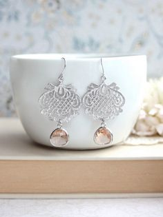 Hey, I found this really awesome Etsy listing at https://www.etsy.com/listing/163234726/peach-glass-earrings-rhodium-plated-lace