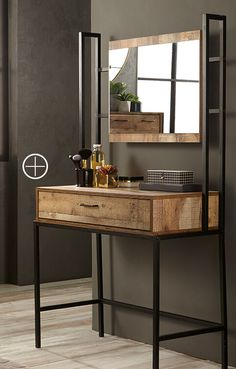 40 Amazing Dressing Table Design Ideas To Try Asap Welded Furniture, Steel Furniture, Home Decor Furniture, Industrial Furniture, Furniture Design, Industrial Tv Stand, Dressing Table Design, Interior Decorating, Room Decor