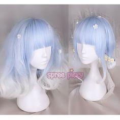 Kawaii Hairstyles, Pretty Hairstyles, Frontal Hairstyles, Wig Hairstyles, Mens Hair Salon, Pelo Multicolor, Kawaii Wigs, Lolita Hair, Blue Wig