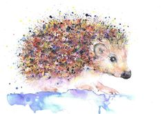 BABY HEDGEHOG PRINT WATERCOLOUR BY MOON HARES ART Paintings & Prints