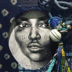"Image of Original Painting - ""Yelen"" - cm Collages, Ledoux, Tribal Decor, Selling Art, Paris, Mixed Media Art, Black Women, Original Paintings, The Originals"