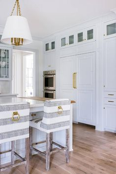 White and gray striped counter stools