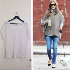 ⚡️LastCall: Host Pick!White relaxed knit top Get this look! This v-neck knitted top is medium weight and the perfect relaxed cut - enough space for layering but not too boxy. Bottom of this sweater is more snug than seen on the model.  Label says M, but would also fits a S person Tops
