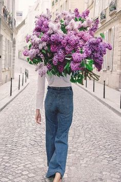 Dress up your jeans and white tee look with a floral bouquet that will turn heads. Shop our best floral dresses here. Flower Power, Wild Flowers, Beautiful Flowers, Top Wedding Dresses, Lilac Color, Purple, Floral Bouquets, Floral Dresses, Amazing Women