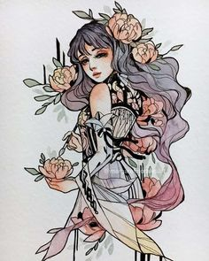 Margaret Morales is a visual designer, painter and watercolor artist from Philippines. Pretty Art, Cute Art, Art Mignon, Geniale Tattoos, Witch Art, Watercolor Artists, Watercolour, Art Techniques, Cool Drawings
