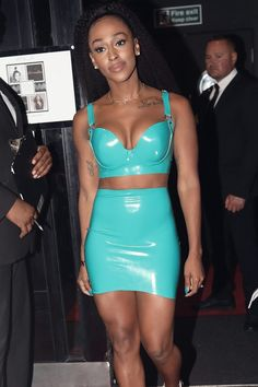 Alexandra Burke attends 30th Birthday Party Alexandra Burke, 30th Birthday Parties, Latex, Bodycon Dress, Two Piece Skirt Set, Swimsuits, Jeans, Girls, Party