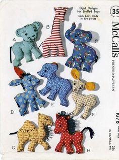 McCall 1078 Assortment of Toys a 1940s sewing pattern