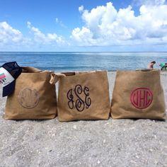Our famous beach bags in Captiva Island. #beach #sand #surf #summer #island #captivaisland #florida #shells #life #love #july #tote #beachbag #monogram #sun #burlap #burlapbag #style #fashion #accessory #jamaica #shop #isola #isolabody #nofilter