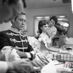 Behind the scenes photos of Audrey Hepburn and husband, Mel Ferrer, backstage before performing in a live television broadcast of Mayerling, February Golden Age Of Hollywood, Old Hollywood, Sabrina 1954, I Look To You, Audrey Hepburn Style, Scene Photo, Classic Beauty, Role Models, 1950s