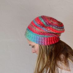 Crochet in Color: Unforgettable Hat using Red Heart Boutique Unforgettable. Takes less than 1 skein of yarn