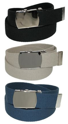 CTM® Big & Tall Cotton Belt with Nickel Buckle (Pack of 3 Colors)