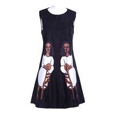 Black Sleeveless Retro Painting Chair Women Print Shift Dress ($73) found on Polyvore