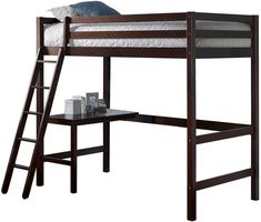 4837875416868 DHP Alana Black Full Metal Loft Bed with Desk