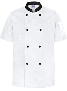 dickies Chef Classic 10 Button Coat with Contrast Cuffs and Collar X-Large White//Black