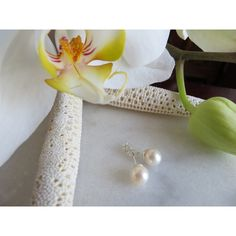 Saltwater Pearl Studs, Pearl Studs, June Birthstone Earrings, 30th... ($39) ❤ liked on Polyvore featuring jewelry and earrings