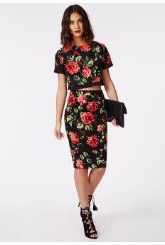 Florrence Rose Print Crepe Midi Skirt Black