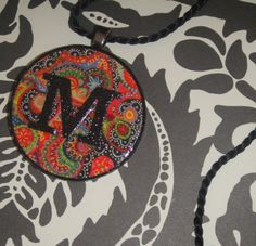 """First Initial Letter """"M"""" Abstract Art Recycled Poker Chip Pendant Necklace Monograms available, too. $19.95, via Etsy."""